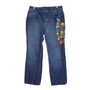 Talbots embroidered leg blue jeans sz 10